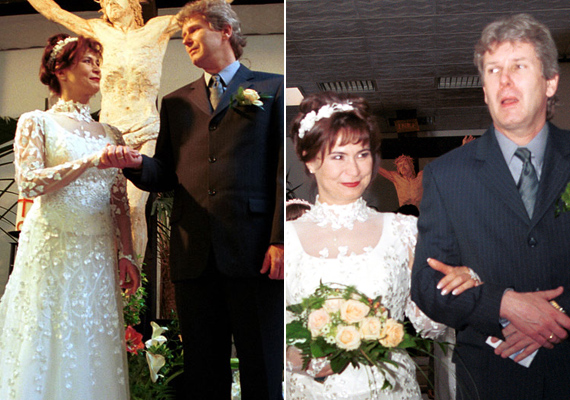 Simorjay Emese olyan szeretettel tekint férjére, mintha nem is létezne senki más az egész világon rajtuk kívül. A színésznő 2001-ben 43 évesen mondta ki az igent Márkus Györgynek.