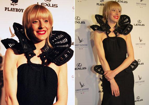 Horányi Juli, az X-Faktor versenyzője az áprilisi Playboy-gálán Gottlieb Réka különleges fekete ruhájában pózolt a fotósoknak.