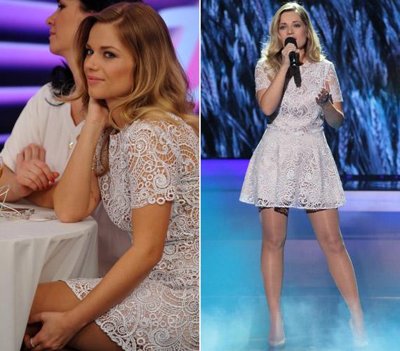 A fehér színű, makramé csipkeruhát, amiben A Dal című műsorban állt színpadra, a Daalarna kifejezetten Cserpes Laura számára alkotta meg.