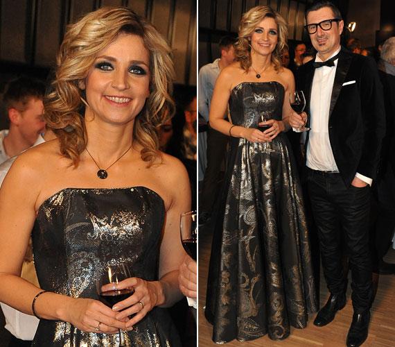 Novodomszky Éva az Eurovíziós Dalfesztivál hazai válogatójának, A Dal című műsornak a döntőjében pompázott talpig ezüstben.