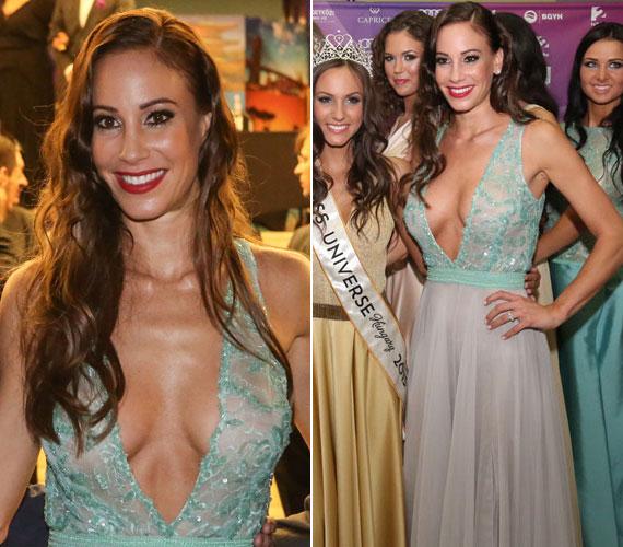 Vajna Tímea a Miss Universe Hungary döntőjén jelent meg ebben a köldökig kivágott, Zoób Kati által megálmodott estélyiben. Hangsúlyos dekoltázsa a verseny résztvevőiről is elterelte a figyelmet.