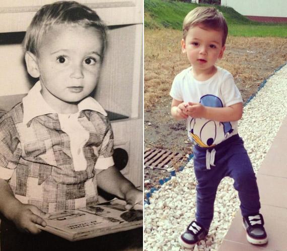 A bal oldali képen Majka látható gyerekként, míg a jobb oldalin a kisfia - kísérteties a hasonlóság.