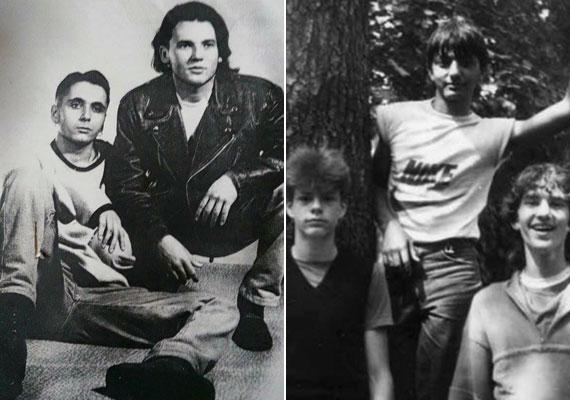Bal oldalon Majka, a jobb oldali fotón pedig Till Attila (a három fiú közül a bal oldali) - a TV2 két műsorvezetője ma már divatosabb frizurát visel.