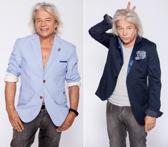 Lakatos Márk stylist azt is megengedte Somló Tamásnak, hogy ha a kedve úgy tartja, ne húzzon semmit a zakója alá.