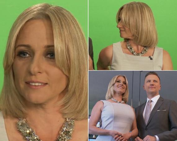Pár nap elteltével a 41 éves tévés fürtjeit még jobban megkurtították, a Red Carpet című műsor kamerái elé már ilyen frizurával állt.
