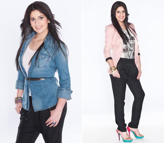 Radics Gigi kedvenc színe a rózsaszín és a fekete. Ebben a stylistok is egyetértettek vele, egy halvány blézer csak kiemeli fekete haját és barna szemét.