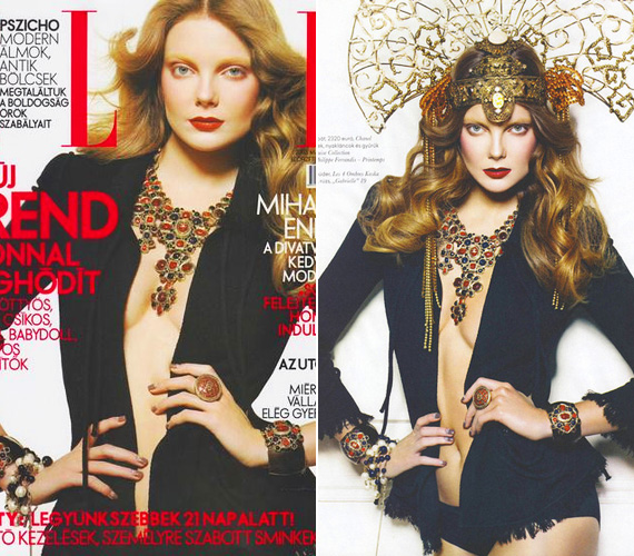 A magyar Elle címlapján tavaly májusban merészen dekoltált, gazdagon felékszerezve mutatta meg klasszikus szépségét.