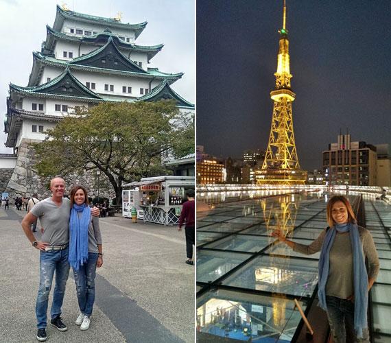 A Nagoja város szívétől nem messze álló kastély előtt, amely egykor a Tokugawa-klán rezidenciája és katonai centruma volt. Jobb oldalon Miklósa Erika a nagojai tévétorony esti fényeivel.