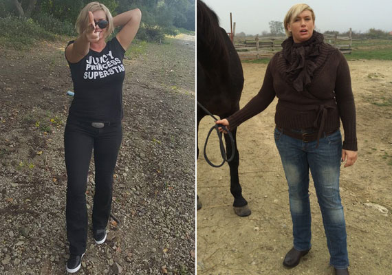 Október elején a Duna-parton és 2014 novemberében - több ruhaméretet fogyott, a fekete nadrág ezt remekül kiemeli.