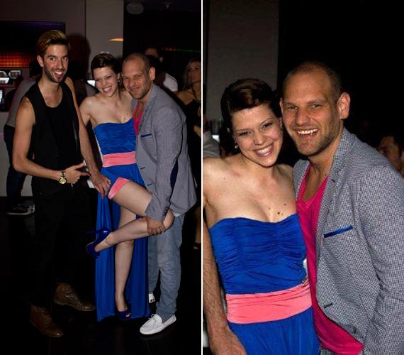 A kék színű, rózsaszín díszítésű, pánt nélküli ruha nem takargatta Muri Enikő nőies vonalait.