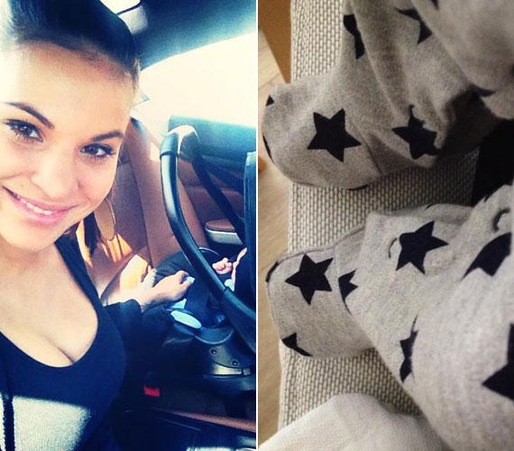 Korábban csak az egyhetes baba lábacskáját mutatta meg, illetve tegnap egy olyan képet tett közzé, amin kisfia a hordozóban ült mellette az autóban.