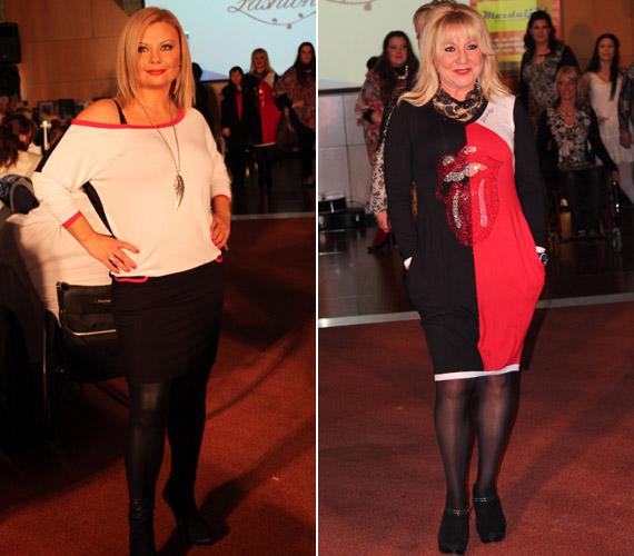 A két barátnő, Rába Tímea és Zoltán Erika hétköznapi, nőies ruhában lépett a kifutóra.