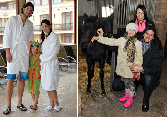 A medence mellett a lovakkal is sok időt töltött a család, hiszen Debóra kedvenc állata a ló. A kislánynak nagy élmény volt, hogy megsimogathatta a jószágokat.