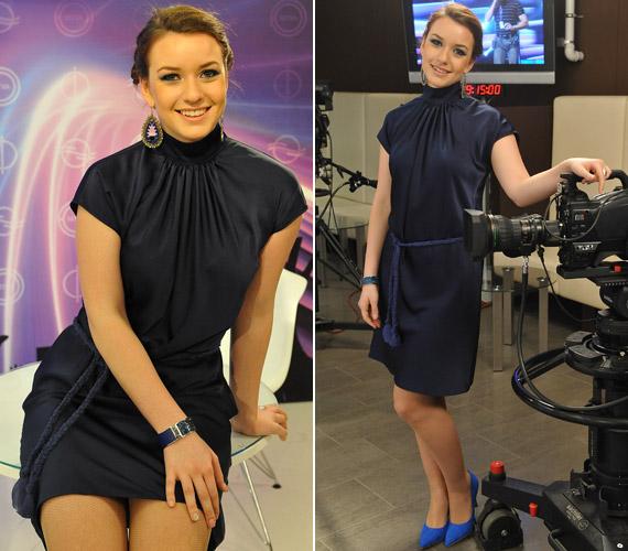 Rátonyi Krisztina, a művészmegőrzőből bejelentkező női műsorvezető is kékbe öltözött vasárnap este.