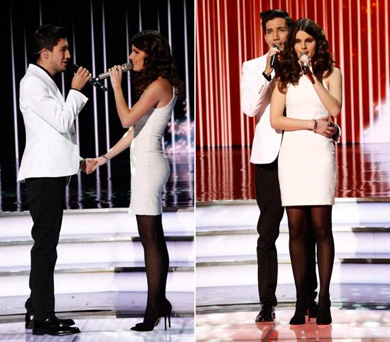 Pál Dénes duettpartnere, Agárdi Szilvia is nagyon csinos volt, rá egy egyszerű, fehér kreációt adtak a stylistok.