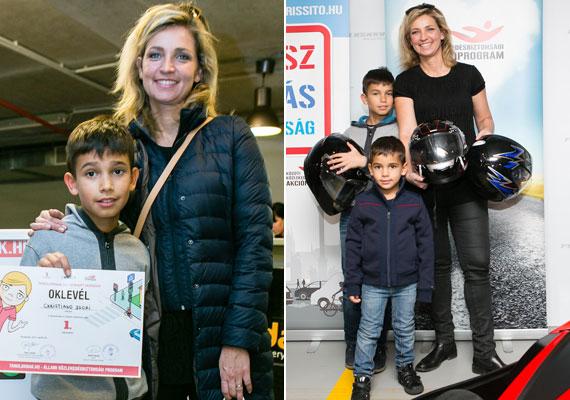 Novodomszky Éva tízéves nagyfia, Christiano büszkén mutatta az oklevelét. Öccse, Marco is kipróbálta a gokartozást.