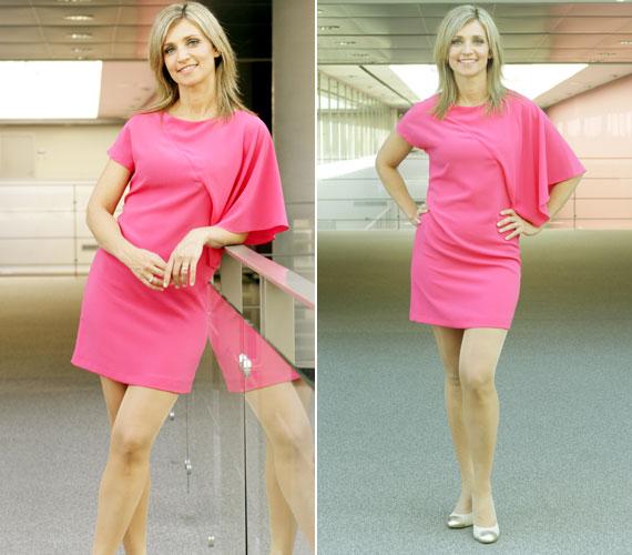 Az aszimmetrikus, pink ruha egyedi és nőies, kiemeli a 39 éves műsorvezető lábait és karcsú alakját.