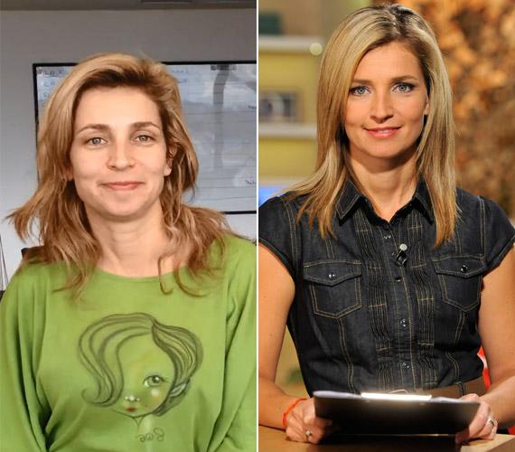 Novodomszky Éva kamerák előtt is vállalja smink nélküli arcát. A jobb oldali képen már műsorvezetésre készen.