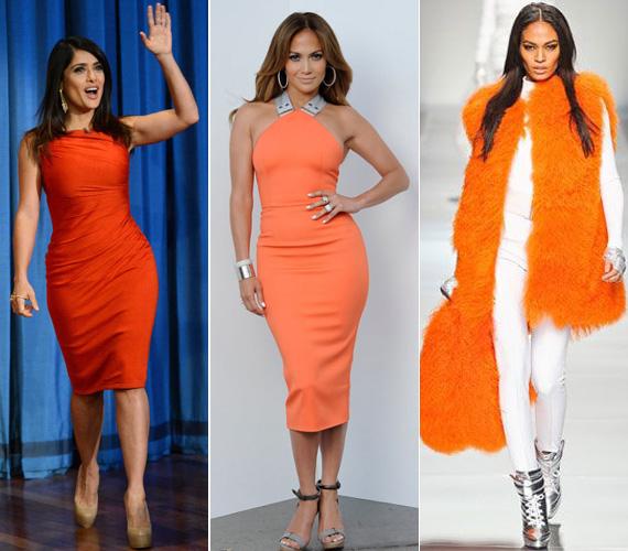 A világsztárok, így Salma Hayek vagy Jennifer Lopez is szívesen választották idén ezt a vidám, élénk színt. Míg a Blumarine 2012-es tavasz-nyári kollekciójában a virágos ruhák kapták a főszerepet, addig az aktuális őszi-téli kollekcióban a csillogó szettek között egy narancssárga bunda tűnt fel.