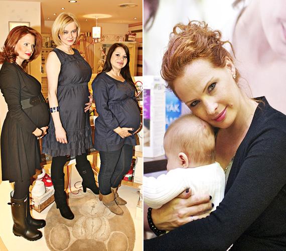 Dobó Kata egy gyermekruhákat és kiegészítőket forgalmazó cégnek is az arca volt várandóssága idején - csakúgy, mint a vele egyidőben babát váró énekesnők, Völgyesi Gabi és Judy is.
