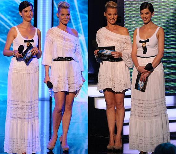 Legutóbb nyárias, fehér Blumarine-szettekben vezették a műsort.