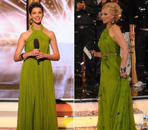 Az elegáns, zöld ruha, derekán aranyövvel, mindkettejüknek remekül állt.