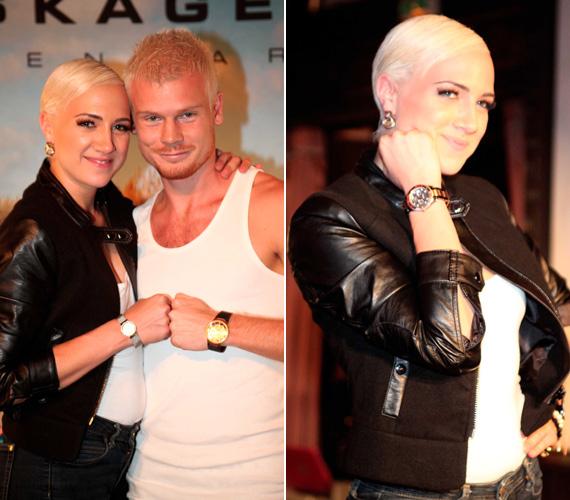 Tóth Gabi a tőle megszokott vagánysággal bőrkabátban lépett színpadra - életében most először a párjával, Rasztovics Dáviddal.
