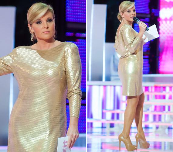 Liptai Claudia a 2013-as A Nagy Duettben bújt az aranyszínű, flitteres ruhába, amely végeredményben nem volt rossz döntés, csak hastájékon kívánt volna néhány szűkítőt.