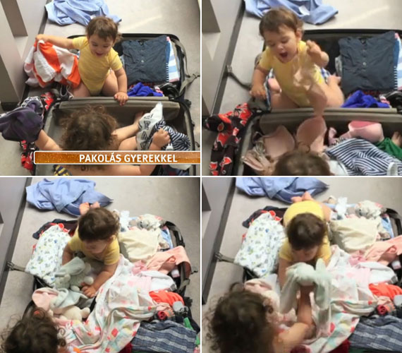 Ördög Nóra gyerekei élvezik a pakolást: a kétéves Mici bevette magát a bőröndbe, az egyéves Vencel pedig sikongatva szanálja az eddig bepakolt holmikat.