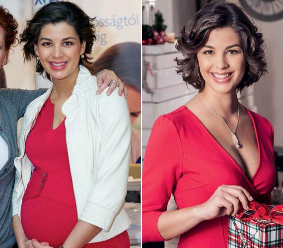 2013 áprilisában, egy hónappal a szülés előtt, illetve egy kozmetikai cég arcaként a karácsonyi katalógusban - a két frizura között nem nagy a különbség.