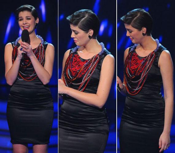 Az első gyermekével várandós kismama a hetedik élő show-ban többször is elérzékenyült: Stone vagy éppen Antal Timi produkciója után is a könnyeivel küszködött.