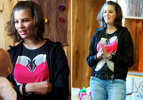 Szeptember közepén annak a babatermékeket forgalmazó világhírű cégnek a közönségtalálkozóján vett részt, amelyiknek a Facebook-oldalán babalogot ír. Csak leheletnyi sminket és hétköznapi ruhákat viselt, amivel kivívta mások elismerését.