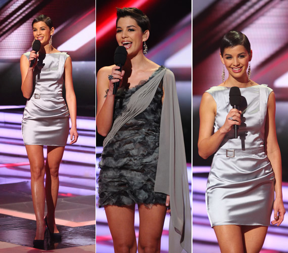 Nóri az egyszerű, ezüstszínű ruhában is remekül nézett ki, bár a különleges vállmegoldású darabban is csinos volt.