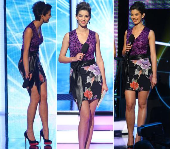 A két különleges minta adta a ruha különlegességét. A merész kreációhoz természetesen egy tűsarkú cipő dukált: egy fekete, alul piros, Louboutinra emlékeztető darabra esett a stylist választása.