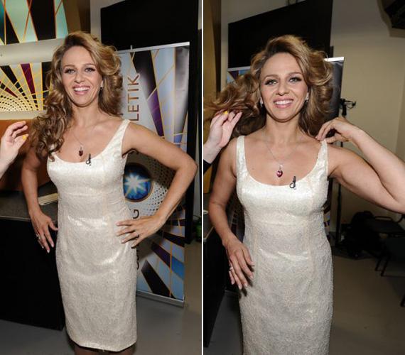 Pokorny Liát is virágos ruhába öltöztették. A színésznő testhezálló, törtfehér ruháján diszkréten csillogtak az apró kis minták.