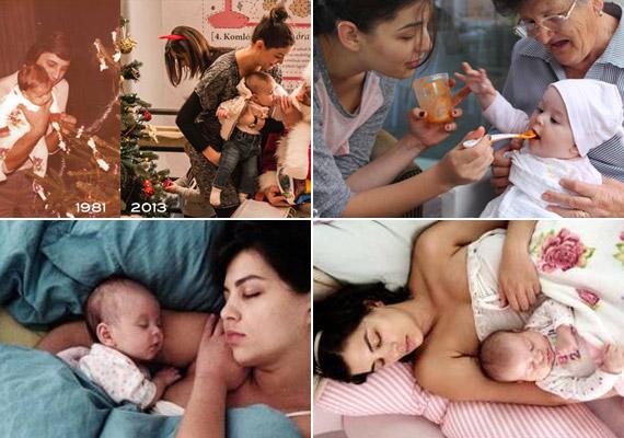 Ugyancsak decemberben láthattuk Ördög Nóra és kislánya első ünnepi fotóját, előtte pedig az etetés és az alvás kapcsán nézhettük meg Micit.