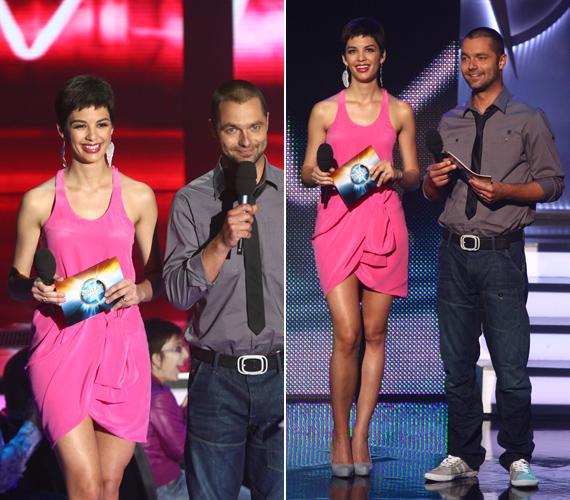 Nem kellett rejtegenie formás lábait sem, pink ruhája nem sokat bízott a fantáziára.
