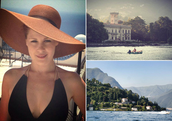 Orosz Barbara, a Tűsarok műsorvezetője a világsztárok luxus nyaralóhelyén, a Comói-tó partján.