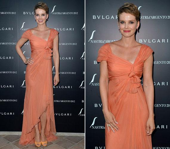 Nem ez az első alkalom, hogy Alberta Ferretti-ruhában jelent meg egy vörös szőnyeges eseményen: 2010-ben a velencei filmfesztiválra is ugyanettől a tervezőtől választott estélyit.