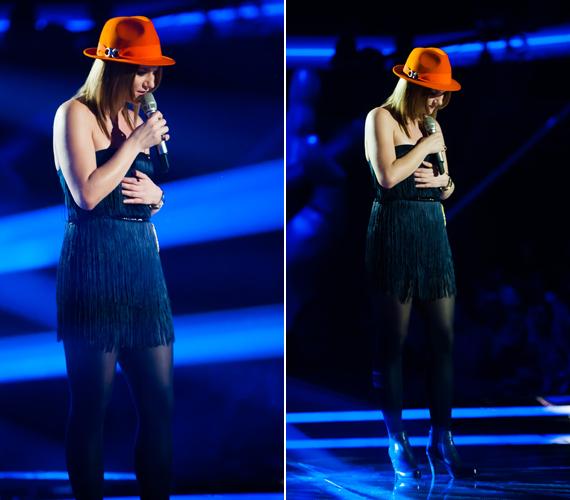 Kriszta Réka Piroska rojtos, fekete ruháját egy narancssárga kalappal dobta fel.