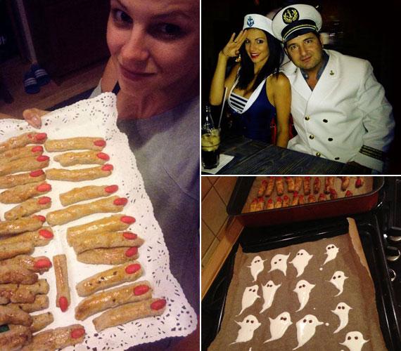 Sarka Kata levágott ujjakra emlékeztető sütiket és tojáshabos szellemeket sütött. Ő maga matrózlánynak, férje, Hajdú Péter műsorvezető tengerésznek öltözött.