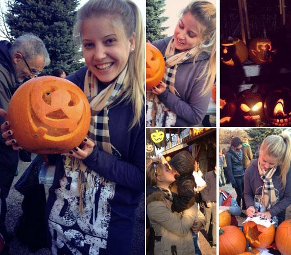 Szabó Zsófi, a Jóban Rosszban színésznője már jóval Halloween előtt elkezdett töklámpást faragni.