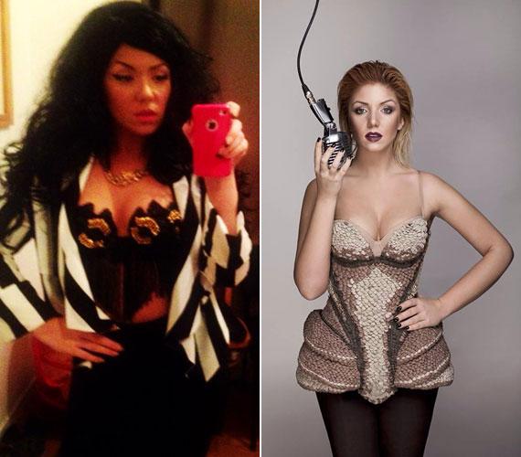 Tolvai Renáta énekesnő fekete parókát és dögös szerelést húzott. Egy-egy rendhagyó darabért nem kell messzire mennie: állandó stylistja, Kiss Márk mindig egyedi kreációkba öltözteti.