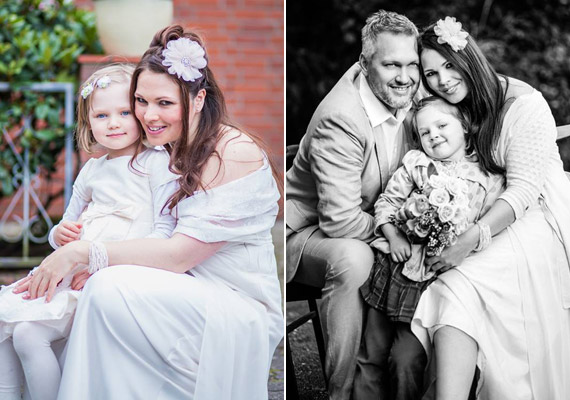Anya és lánya, illetve egy fekete-fehér felvételen a teljes család.
