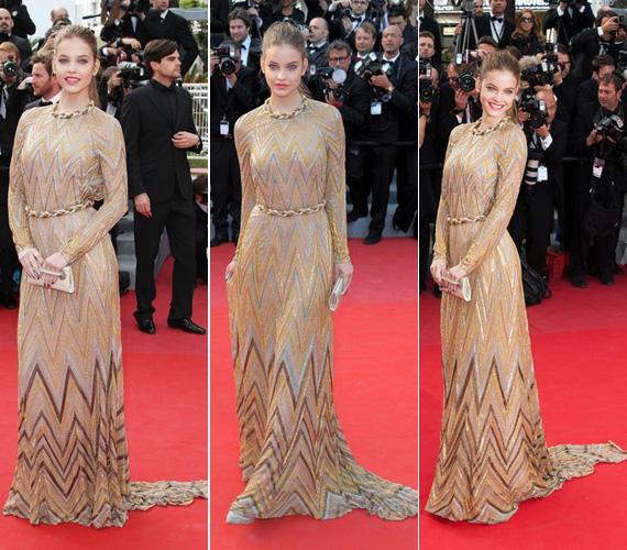 Tegnap a Lawless című film premierjére úgy vonult be, mint egy igazi díva ebben az arany-ezüst színű Valentino couture ruhában, amelyet a cikk-cakk mintán kívül a fonott nyak- és derékdísz tett különlegessé.