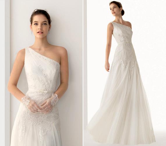 Aki a kevésbé bő menyasszonyi ruhákat kedveli, az is talál magának valót. Egy finom csipkekesztyű még elegánsabbá teszi a megjelenést.