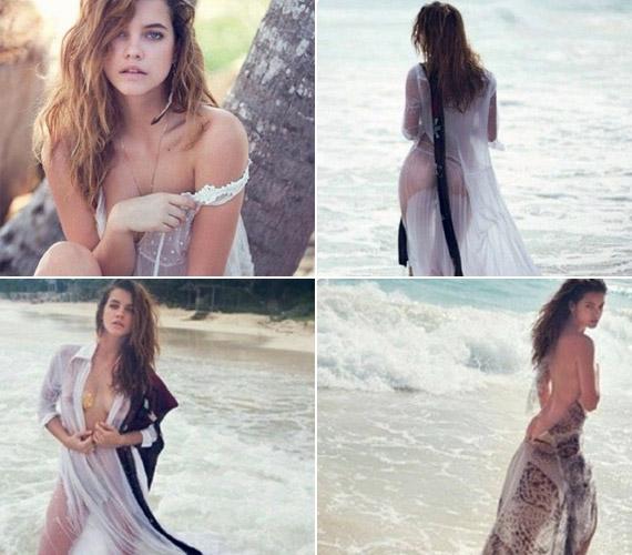 A külföldön is sikeres magyar szépség a belső oldalakon nemcsak meztelenül, de sejtelmes, vizes ruhákban is látható.