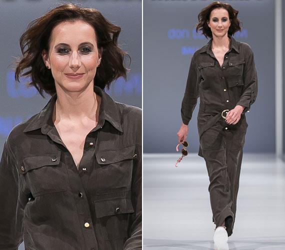 Ki mondaná meg a légies Balla Eszterről, hogy már háromgyerekes anyuka? A színésznői Tomcsányi Dóri egyenruha-szabású ruhájában könnyedén libbent végig a kifutón.