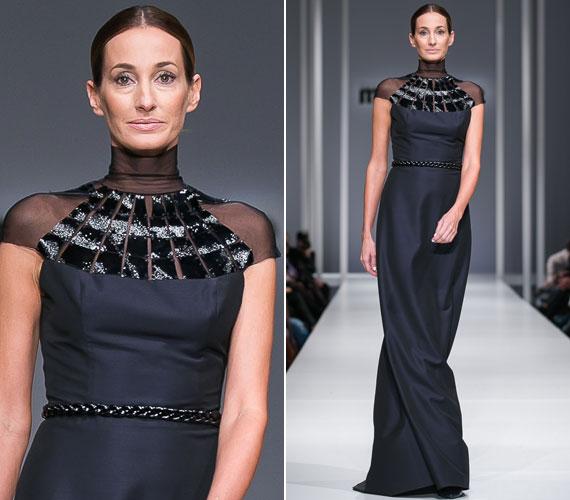 Epres Panni ma már ritkán lép kifutóra, de a Marie Claire Fashion Days nagyszabású rendezvényén évről évre visszatérő vendég. Bódis Boglárka, az Elysian divattervezőjének sötétkék ruhakölteményében királynőként vonult végig a fotósok sortüzében.