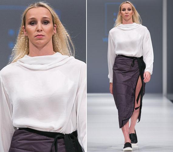 Ha Verrasztó Evelyn bármilyen eseményre megy, rendszerint a minimált, a letisztult formákat választja, így nem meglepő, hogy a divatbemutatón általa viselt NUBU-összeállítás nagy kedvence lett.